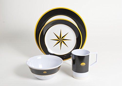 Galleyware Black Compass 16 Piece Melamine Non-Skid Dinnerware Set