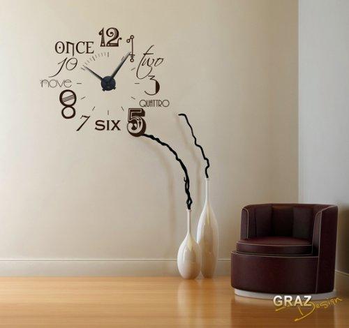 Amazon.de: Wandtattoo Uhr mit modernem Design mit internationalen ...