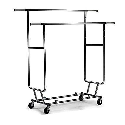Cu alightup doble rail Rolling ropa Rack con ajustable ...