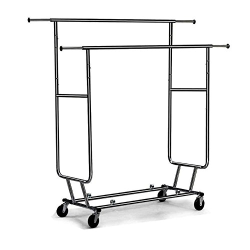 Cu AlightUp Double Rail Rolling Garment Rack with Adjustable