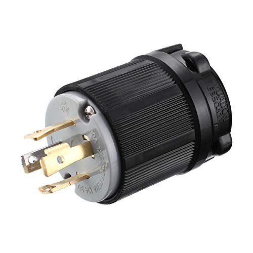 Miady NEMA L14-30P Generator Plug, 30 Amp 4-Prong Industrial Grade Locking Male Plug Up to 7,500W, Grounding Type/UL listed ()