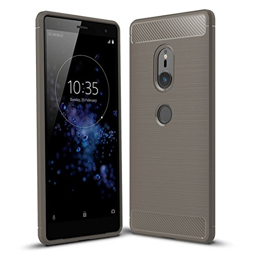 For cellphone Cases, For Sony Xperia XZ2 Brushed Texture Carbon Fiber Shockproof TPU Protective Back Case (Color : Grey)