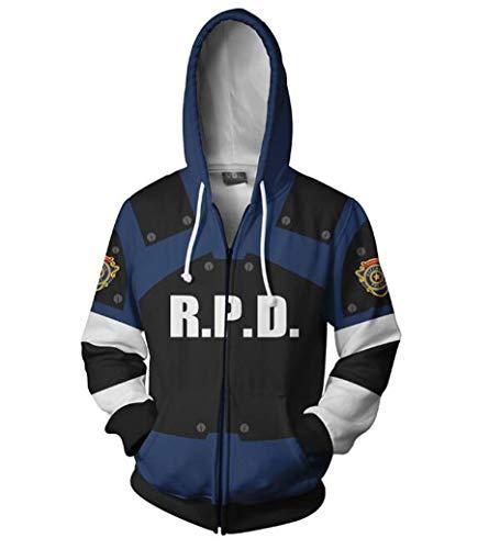Ayazan Cosplay Game Leon 3D Printed Hoodie Jacket Zipper Costume Unisex Sweatshirt (US L, Leon)]()