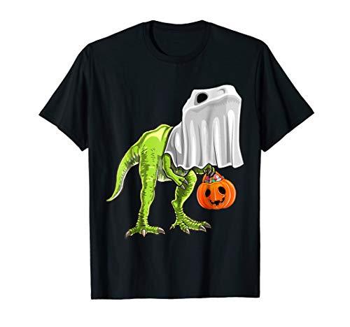 Halloween T Rex Dinosaur Ghost Trick or Treat Shirt Kids -