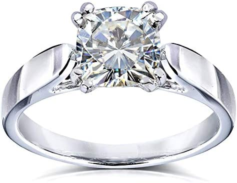 Kobelli Cushion-cut Moissanite Solitaire Engagement Ring 1 1/10 Carat 14k White Gold