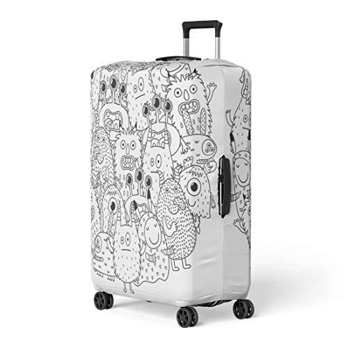 Pinbeam Luggage Cover Halloween Funny Monsters Circle Shape Pattern for Coloring Travel Suitcase Cover Protector Baggage Case Fits 22-24 inches ()