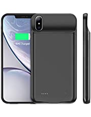 YICF Funda Bateria para iPhone Xs Max, 4000mAh Battery with Protective All Cover Case, Batería Portátil Recargable para iPhone Xs Max, Color Negro