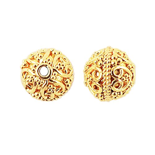 18K Gold Overlay Bali Bead BG-113-10MM (Bali Beads Beading)
