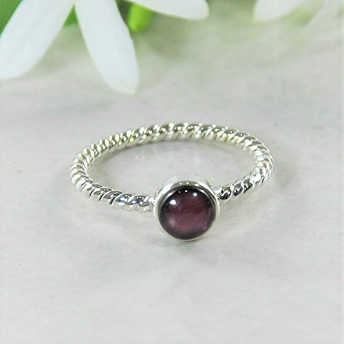 Sivalya NOVA Natural Garnet Gemstone Ring in 925 Sterling Silver - Twisted Rope Pattern Solid Silver Band Ring for Women - Size 7 - Natural Twisted