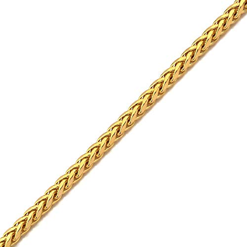 """LoveBling 10K Yellow Gold Wheat, Palm Chain Bracelet with Lobster Lock (5mm, 7"""")"""