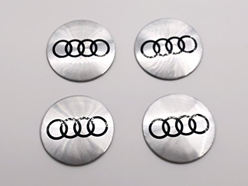 4Pcs Silver 56mm 2.2'' Compatible With AUDI Wheel Center Hub Caps Emblem Decal Stickers