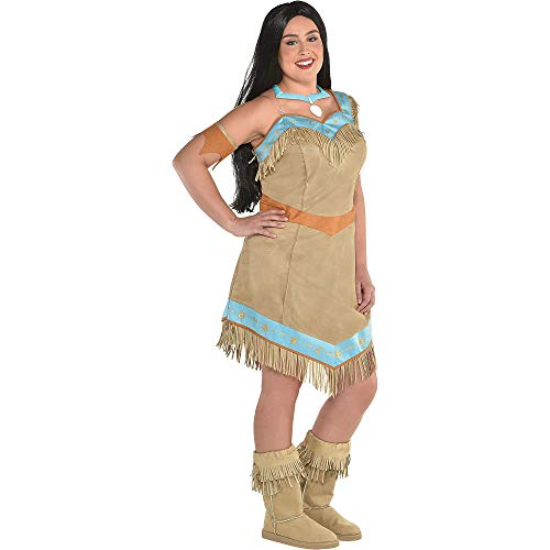 SUIT YOURSELF Pocahontas Costume for Women, Plus Size, Includes Fringe Dress, a Necklace, an Arm Band, and Boot Covers -