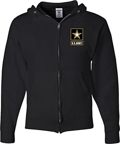 Buy Cool Shirts Mens US Army Pocket Print Full Zip Hoodie, Black, XL (Army Zip Hoodie)