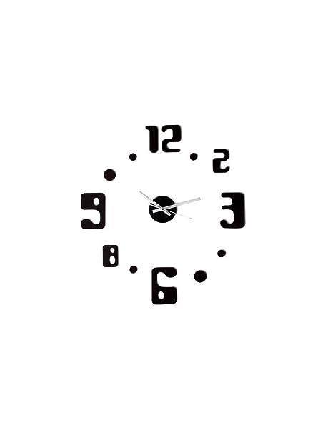 Reloj pared adhesivo negro números/puntos (60x60)