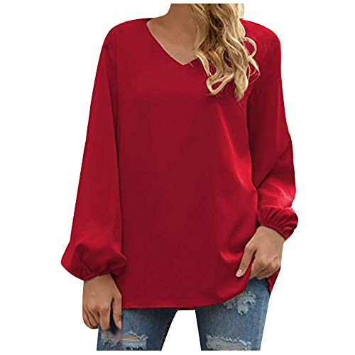 YUGHGH Women's Basic V Neck Long Sleeve T Shirts Casual Tops Red