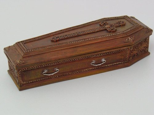 Cross Coffin - 8.25 Inch Cross Embellished Coffin Jewelry/Trinket Box Figurine