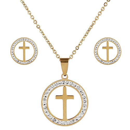 Crystal Cross Round Pendant Necklace & Earrings Women Gold/Silver Color Stainless Steel Crucifix Jewelry Sets Christian