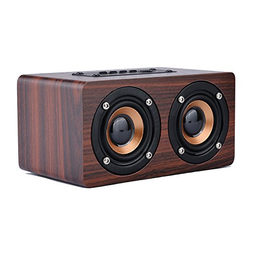 Wood Portable Bluetooth Speaker with HIFI Stereo Sound, WOPOW 2200mAh Handcrafted Retro Wireless Design with Dual Passive Subwoofers for Travel, Home, Beach, Outdoors(Brown)