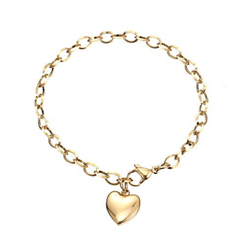 Link Gold Bracelet Chain - Stainless Steel Bracelets,HERACULS 316L Women's Chain Link Bracelet with Heart Charm 7.5 Inch ( Gold )