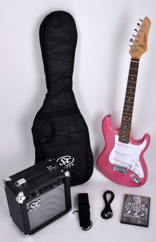 SX RST 3/4 BGMY Short Scale Pink Guitar Package with Amp, Carry Bag and Instructional DVD by SX