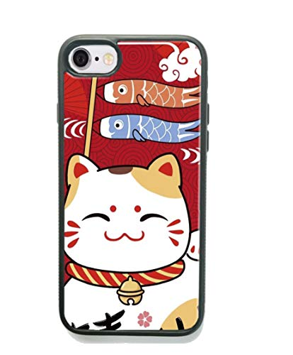 iPhone SE/5S/5 Case,Cute Slim Fit Black Shockproof Bumper Anti-Slip Japanese Mascot Fortune Cat Design Soft TPU Protective for Women Girls Cell Phone Cover for Apple iPhone 5S/SE/5 Fish