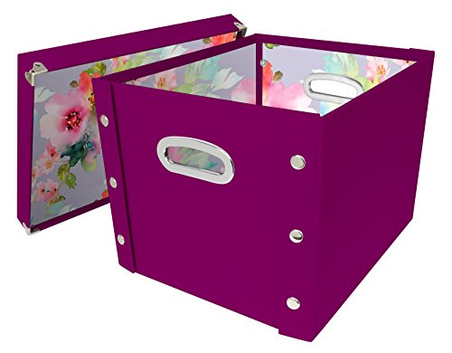 Ideastream Snap - Snap-N-Store Storage Box with Lid, Assembled - 14.8 H x 11 W x 13 L Inches, Berry (SNS03334)