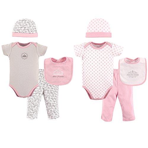 Hudson Baby Baby 8 Piece Grow with Me Box Set, Princess Pink, 0-6 Months