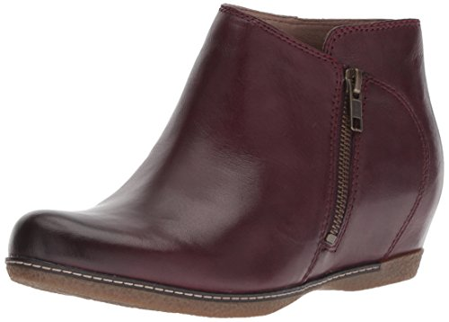 Dansko Women's Leyla Ankle Boot, Wine Burnished Calf, 41 M EU (10.5-11 US) ()