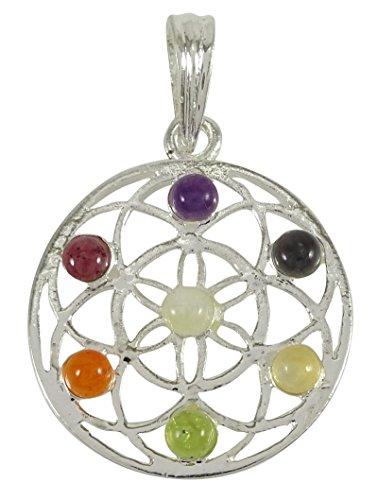 Harmonize Metal 7 Chakra Multistone Flower Of Life Pendant Spiritual Reiki Healing Crystal Gemstones