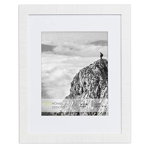 16x20 Frame Matted to 11x14 - Modern White Wall Poster by EcoHome