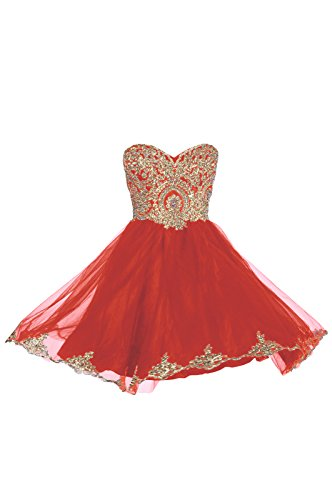 Prom Dresses Short Lace Prom Homecoming Dresses Affordable Beautiful Sparkly Dress, Color Red,10 (Dresses Red 2015 Prom Lace)