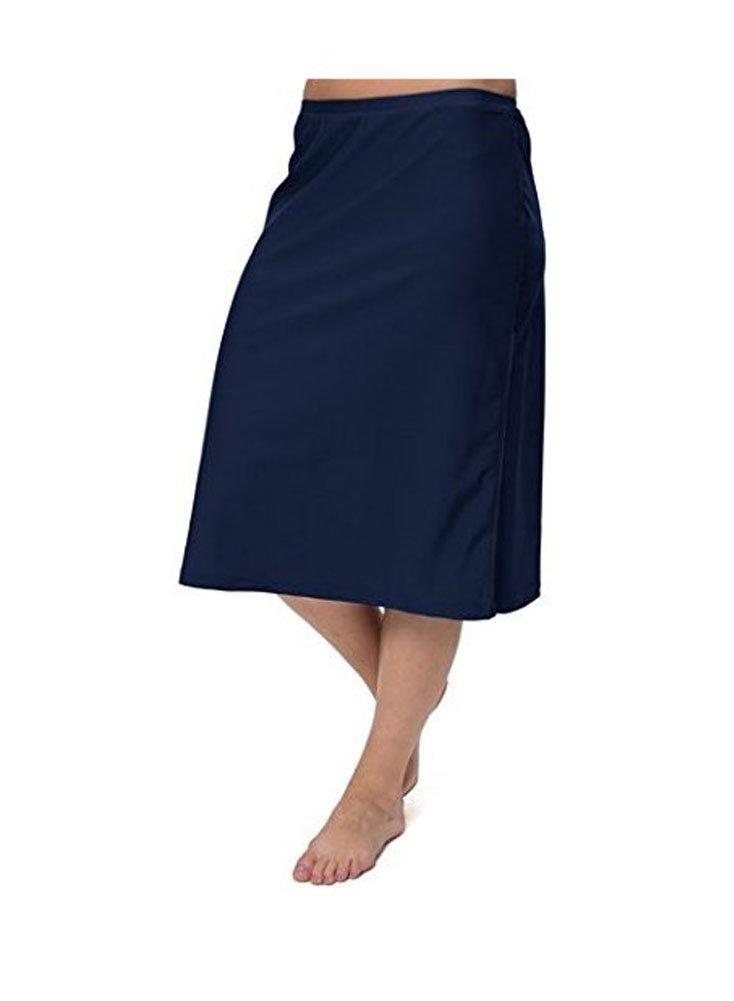 HydroChic Women's Modest Plus Size Long Swim Skirt with Leggings (Navy, 2X)