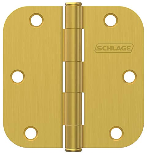 "Schlage SC3P1011F608E 3-1/2"" x 3-1/2"" Plain Bearing 5/8"" Radius Corner Mortise Hinges - Pack of 3"