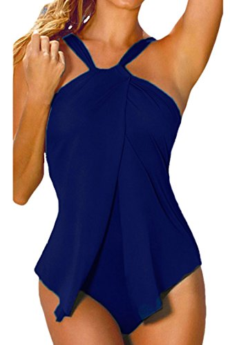 Sovoyontee Women Halter Neck Wrap Draped Front One Piece Swimsuit Blue 2XL -