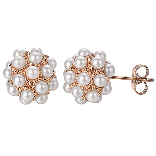 Yoursfs Pearl Cluster Earrings Rose Gold Plated Disc Ball Stud Earrings For Women CZ (Gold Freshwater Pearl Cluster)