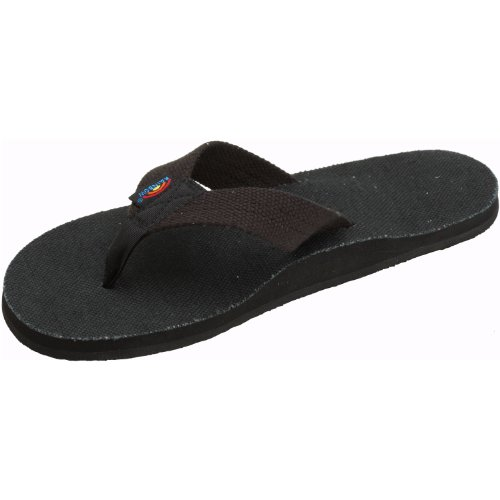 Womens Rainbow Sandals Hemp Single Layer Wide Strap Black X-