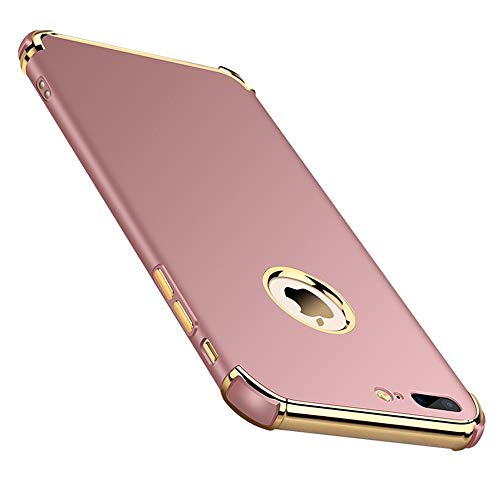 Chengming Compatible with iPhone 7 Plus/iPhone 8 Plus 3 in 1 Anti-Scratch Anti-Fingerprint Shockproof Electroplate Frame Strong Magnetic Adsorption with Non Slip Coated Case(5.5 inch)(Rose Gold)