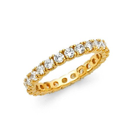 d Eternity Band Stackable Ring Channel Set Endless Wedding Band 2.6 MM Size 6 (Yellow Gold Eternity Wedding Ring)