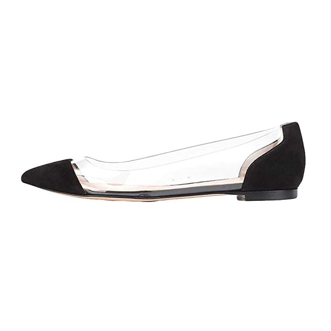 32e9072bd1aeed Amazon.com  Dressin Womens Plus Size Flat Shoes Shallow Boat Comfortable  Working Pointed Soft Shoes  Clothing