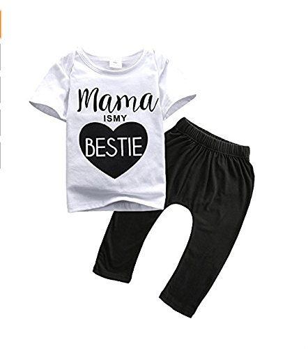 Kingken Cute Baby Short Sleeve'Mama is my bestie' T-shirt and Pants Sets
