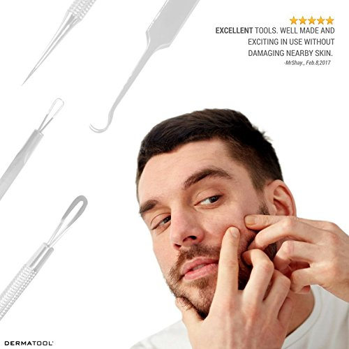 Blackhead-Remover-Acne-Treatment-Skin-Care-Kit-by-DERMATOOL-Stainless-Steel-Comedone-Extractor-Pimple-Popper-Zit-Zapper-with-Tweezers-Pore-Cleaner-Helps-Stop-Acne-Scars-and-Ingrown-Hair