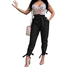 TOB Women's Casual Belted High Waist Stretchy Loose Trousers Long Pants
