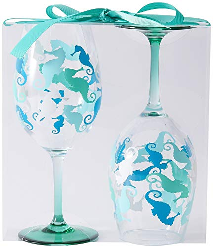 Tropix 2-pc. Seahorse Wine Goblet Set One Size Aqua blue/green
