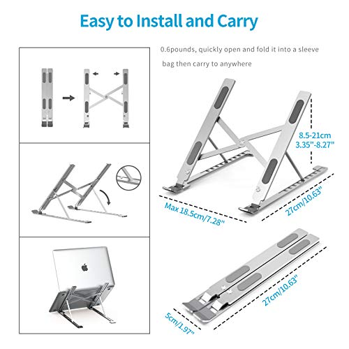 cshare Adjustable Laptop Stand for Desk, Portable Computer Stand for Laptop Riser Mount Compatible with MacBook Pro Mac Air Chromebook Dell HP 7-17 Inch Notebook Stands Holder