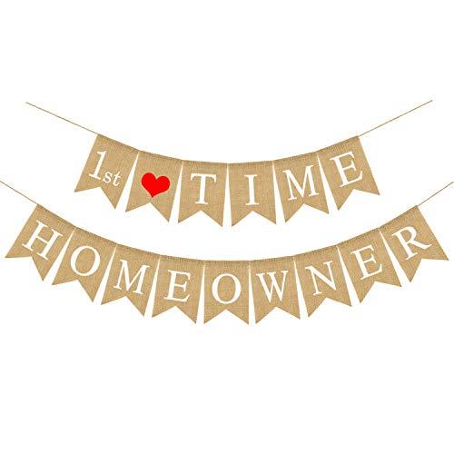 Rainlemon Jute Burlap 1st Time Homeowner Banner House
