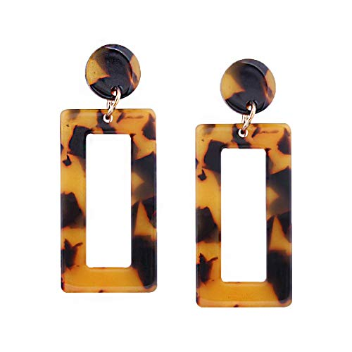 Acrylic Acetate Rectangle Earrings- Fashion Tortoise Geometric Marble Floral Resin Boho Dangle Drop Earrings for Women ()