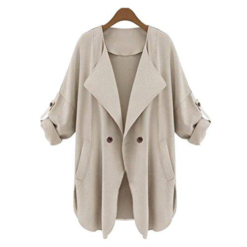 Women's Asymmetric Hem Cardigan Coat, Qisc Classic Open Front Drape Hem Coverup Coat Outwear (M, Khaki) by Qisc
