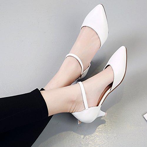 GAOLIM Punta Mujeres Sandalias De Verano El Verano Zapatos De Mujer Zapatos De Trabajo Con Finas, Con Bajas Como Correas Zapatos De Mujer Sandalias Blanco