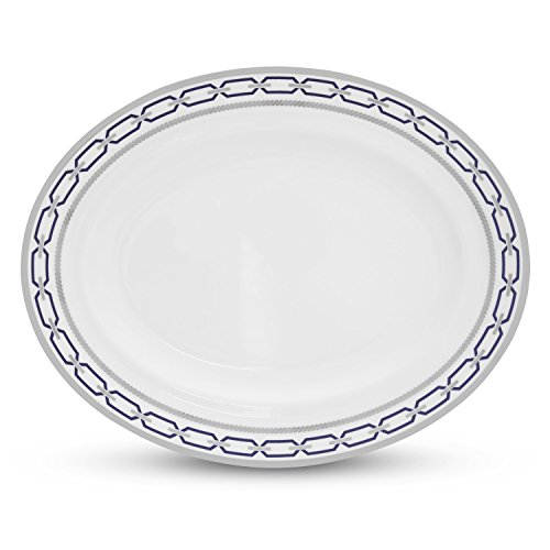 - Wedgwood with Love Nouveau Indigo Rim Oval Platter, 13.75-Inch, White