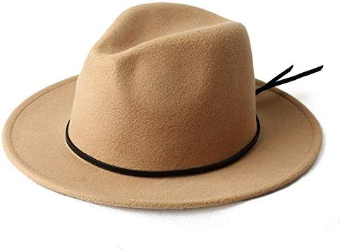 男性女性ウールフェドーラハットベルト冬屋外カジュアル帽子広いつばの帽子パナマ帽子サイズ56-58センチSunhat 帽子 レディース (色 : カーキ, サイズ : 56-58)